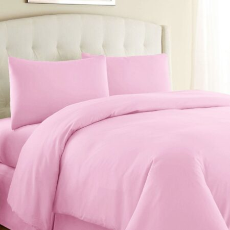 Baby Pink Duvet Cover with 4 Pillows