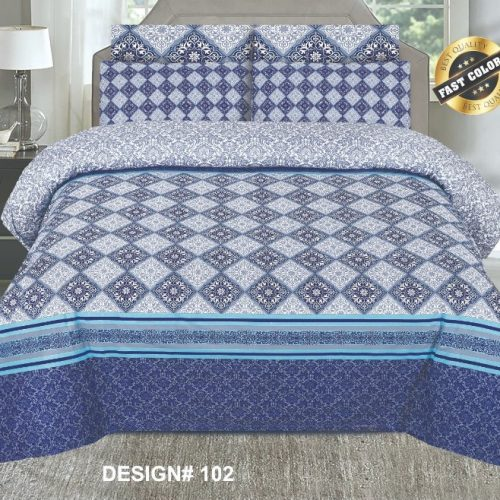 Blue Bed Sheet Printed With 2 Pillows