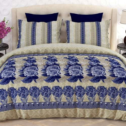Blue Off White Bed Sheet With 2 pillows