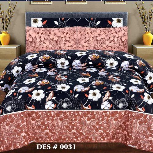Dark Blue Pink Border Sapphire Comforter Set ( 6 - 8 PCS )