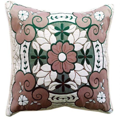 Green Brown Border Cushion Covers