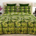 Green Pattern Printed Comforter Set ( 6 PCS – 8 PCS )