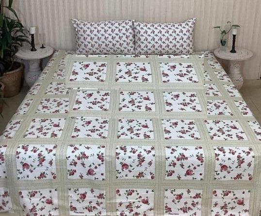 Green White Box Printed Comforter Set ( 6 PCS – 8 PCS )