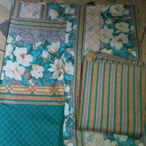 Green and White Color Bed Sheet