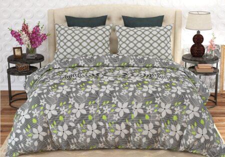 Grey White Flowers Printed Comforter Set ( 6 PCS – 8 PCS )