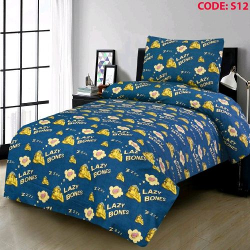 Lazy Bones Blue Color Kids Bed Sheet