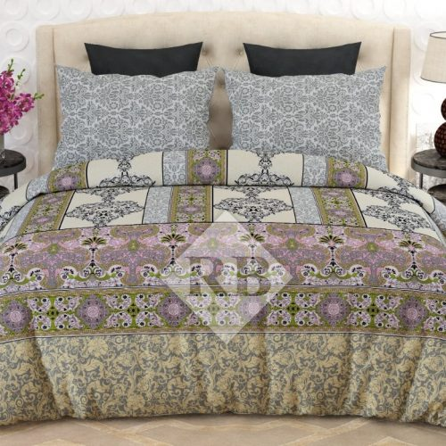 Light Brown Printed Dynasty Comforter Set ( 6 - 8 PCS )