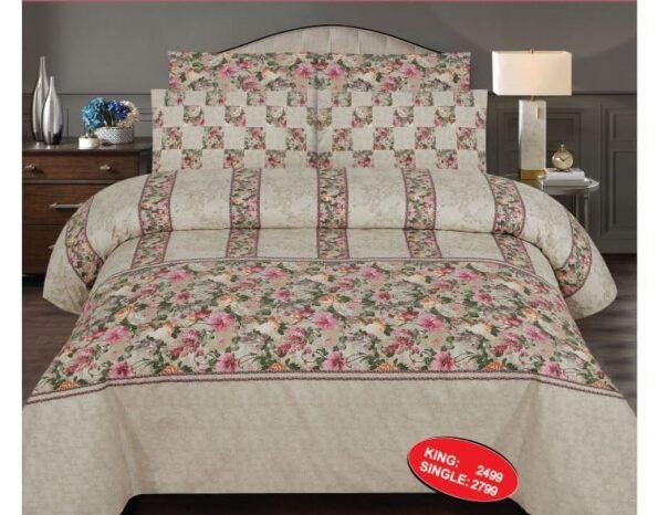 Light Flowers Printed Comforter Set ( 6 PCS – 8 PCS )