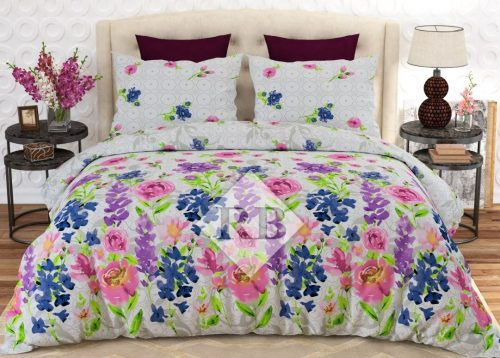 Light Flowers Printed Dynasty Bedding Comforter Set ( 6 - 8 PCS )