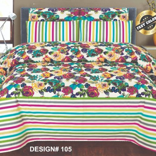 Muliti Lines Flowers Sheet With 2 Pillows