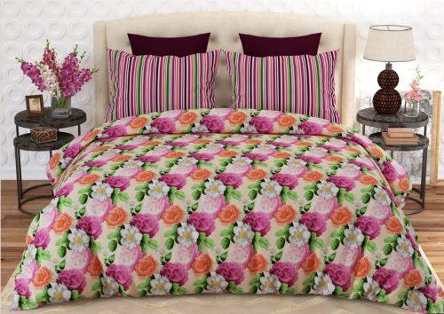 Pink Orange White Flower Bed Sheet