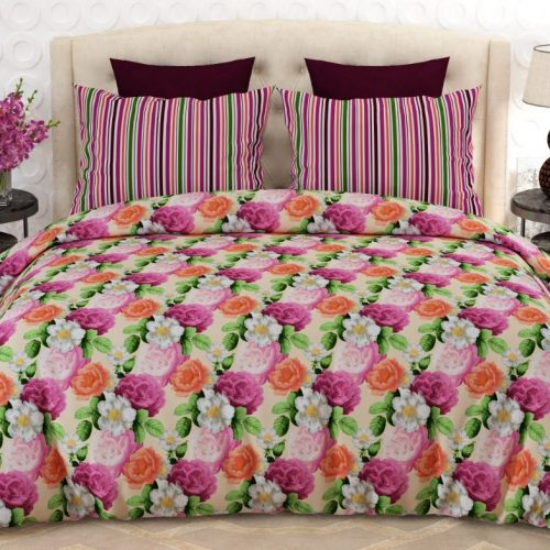 Pink Orange White Flower Bed Sheet