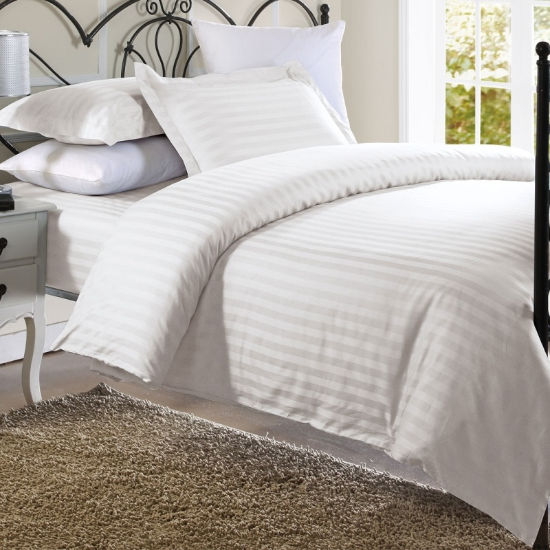 Plain White Stripe Bed Sheet