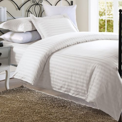 Plain White Stripe Comforter Set