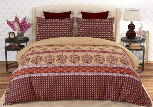 Printed Brown Bed Sheets With 2 Pillows