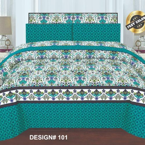 Printed Green Bed Sheet With 2 Pillows