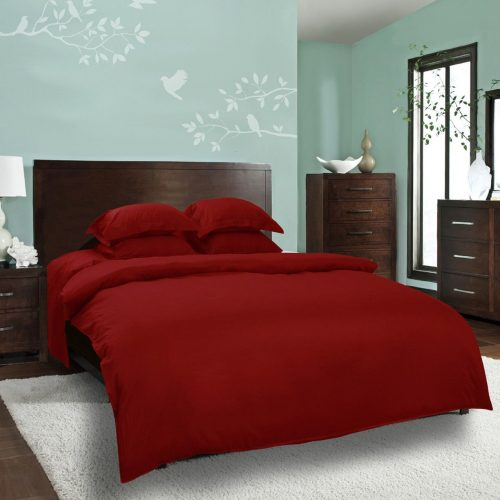 Red Duvet Cover with 4 Pillows