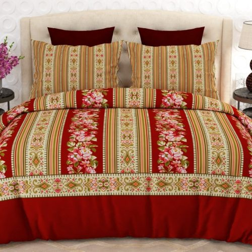 Red Yellow Bed Sheet With 2 Pillows