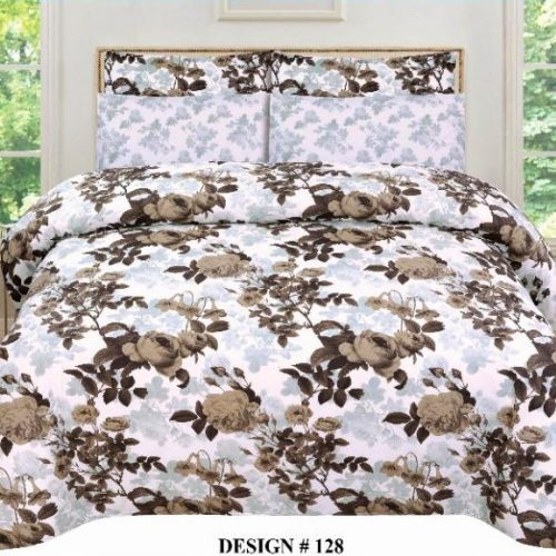 White With Brown Flower Comforter Sets