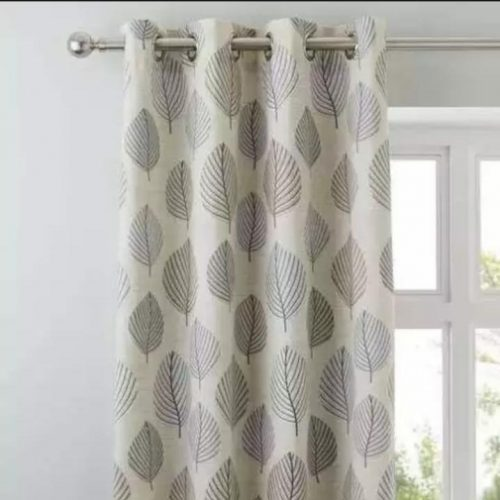 White and Black Leaf Curtains