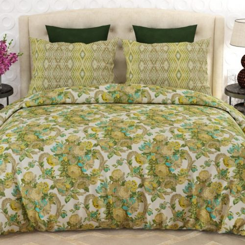 Yellow and White Comforter Set