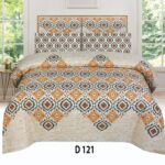 Brown Skin Printed Bed Sheet with 2 Pillow Covers
