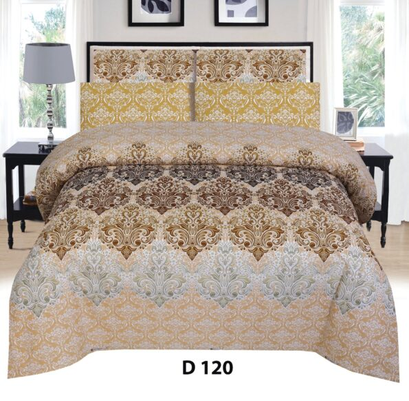 Brown Yellow Printed Bed Sheet with 2 Pillow Covers