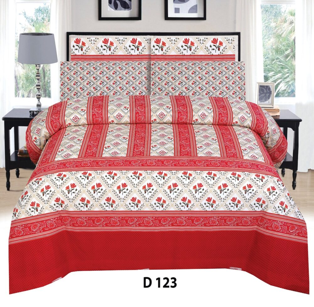 Red White Printed Bed Sheet with 2 Pillow Covers