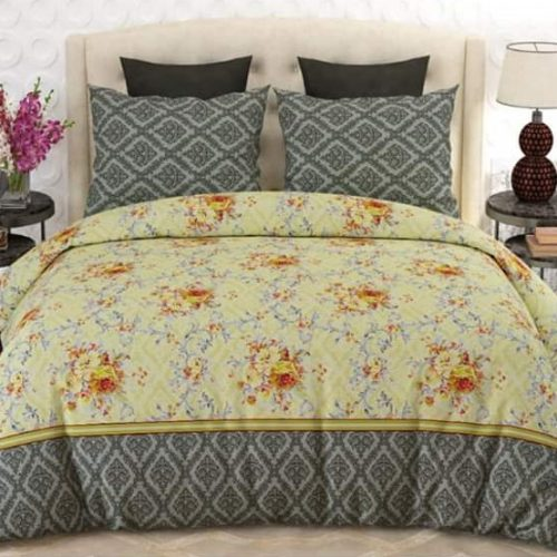 Yellow And Grey Color Bed Sheet