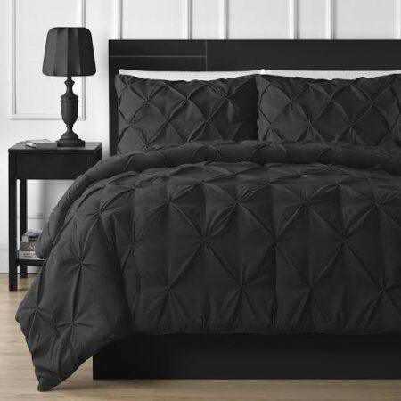 Black Double Quilt Duvet Set 8PCS