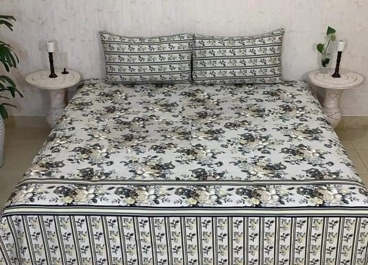 Black Grey Flower Printed Bedding With 2 Pillow Covers