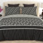 Black Grey Printed Bed Sheet With 2 Pillow Covers – 3 PCS