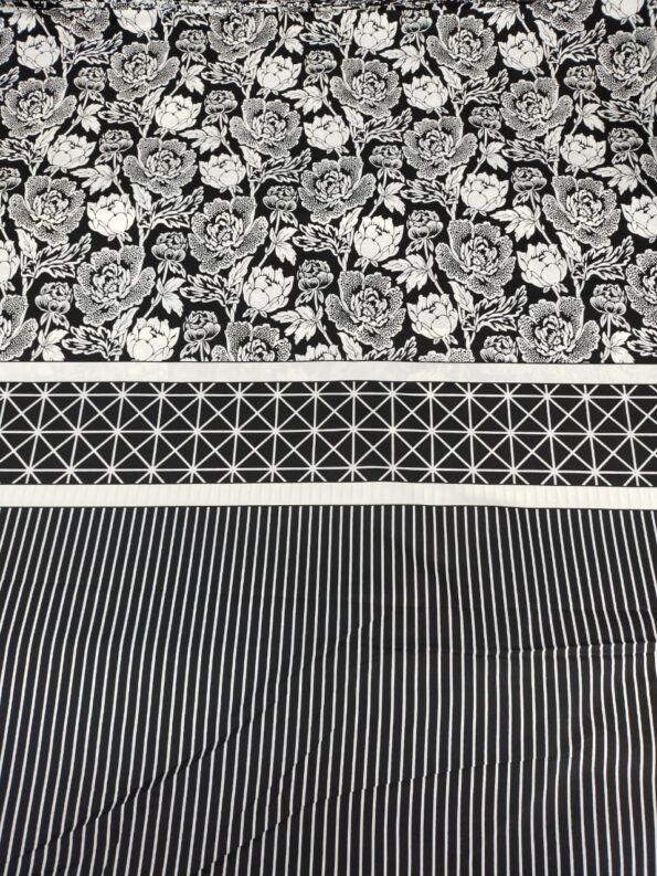 Black Pattern Printed Sheet With 2 Pillow Covers (2)