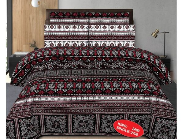 Black Red Printed Sheet With 2 Pillow Covers – 3 PCS