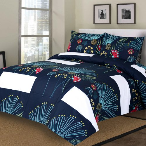 Blue Bed Sheet King 95 X 100″ 2 Pillow Cover
