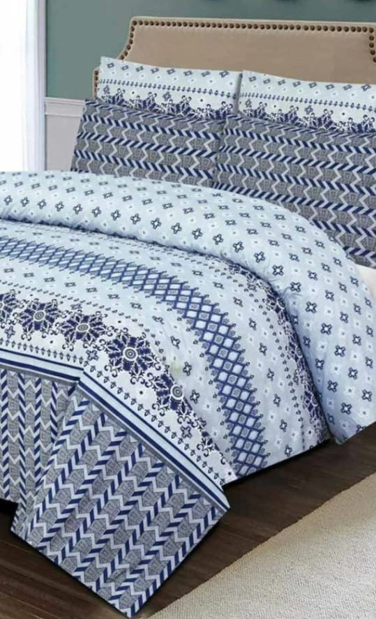 Blue Sky Printed Bed Set With 2 Pillow Covers – 3 PCS