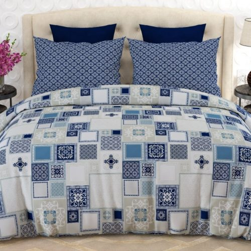 Box Blue White Printed Bed Sheets
