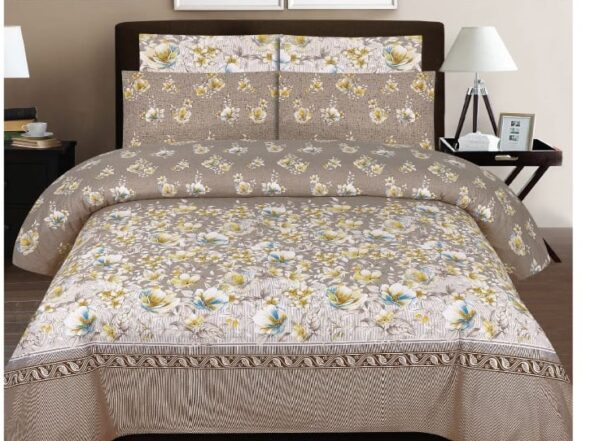 Brown Printed Bedding With 2 Pillow Covers – 3 PCS