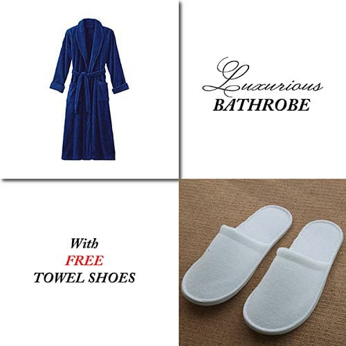 Dark Blue Bathrobe for Women ( 4 PCS Set )