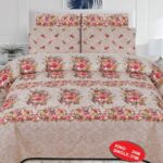 Flowers Printed Bed Cover With 2 Pillows