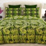 Green Pattern Printed Sheet With 2 Pillow Covers – 3 PCS