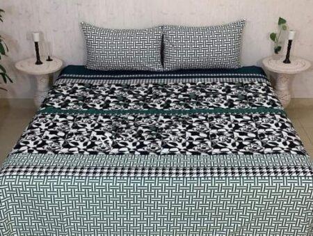 Dark Green Printed Leaf Bed Sheet