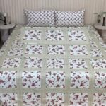 Green White Box Printed Bed Sheet With 2 Pillows