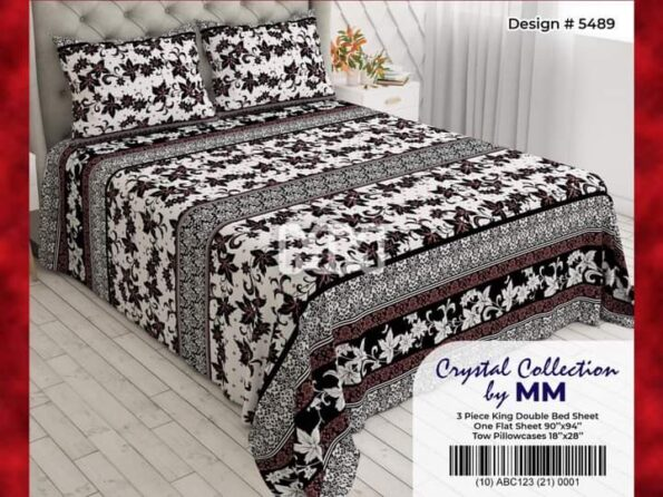 Grey Black Bed Covers With 2 Pillow Covers – 3 PCS
