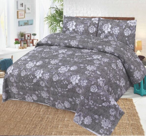 Grey White Bedding Covers With 2 Pillows – 3 PCS