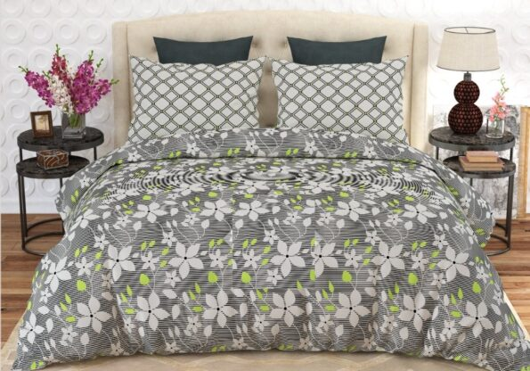 Grey White Flowers Printed Sheet With 2 Pillow Covers – 3 PCS
