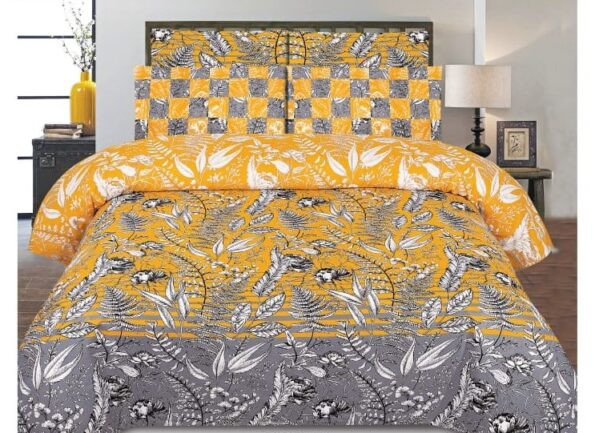 Grey Yellow Leaf Printed Bed Sheet With 2 Pillow Covers – 3 PCS