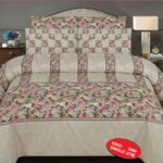 Light Flowers Printed Bed Sheet With 2 Pillow Covers – 3 PCS
