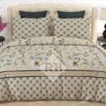 Off White Printed Bed Sheet With 2 Pillow Covers – 3 PCS