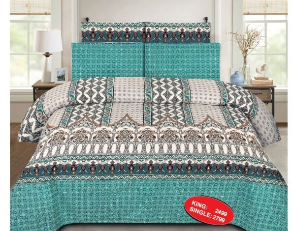 Pattern Printed Bed Cover With 2 Pillow Covers – 3 PCS